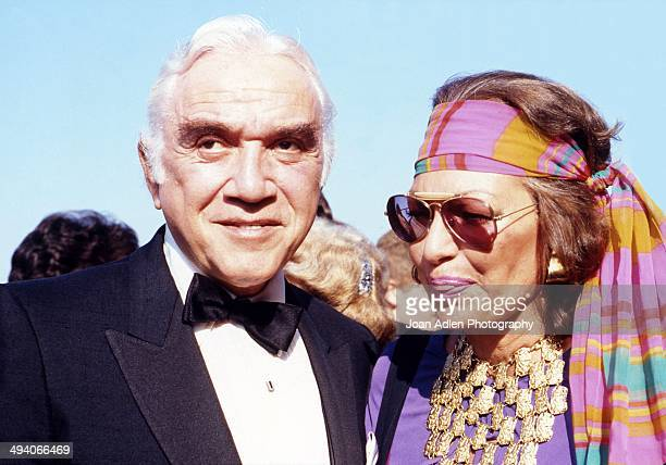 Actor Lorne Greene with his wife actress Nancy Deale attend the 35th Annual Primetime Emmy Awards held at the Pasadena Civic Auditorium on September...