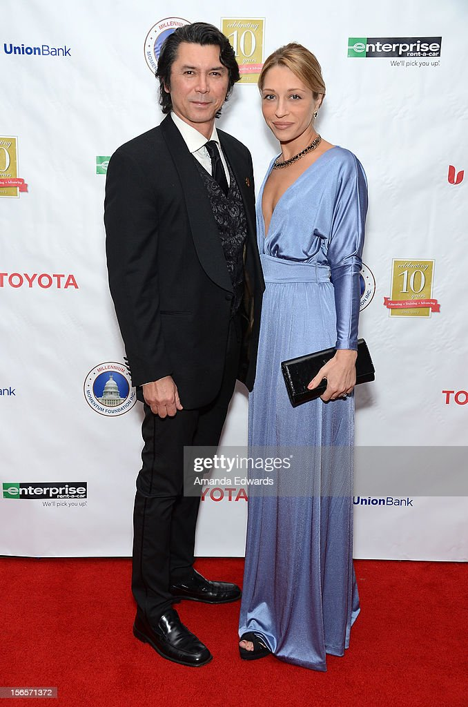 Actor Lou Diamond Phillips (L) and his wife Yvonne Boismier Phillips arrive at the 10th Annual Opening Doors Awards benefiting the Millennium Momentum Foundation at Dorothy Chandler Pavilion on November 16, 2012 in Los Angeles, California.