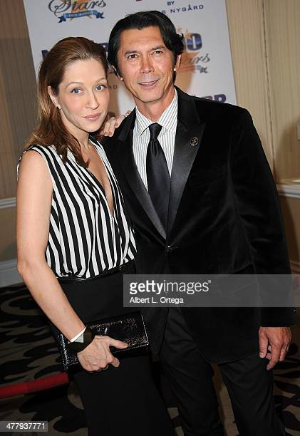 Actor Lou Diamond Phillips and wife arrive for Norby Walters' 24nd Annual Night Of 100 Stars Oscar Viewing Gala held at Beverly Hills Hotel on March...
