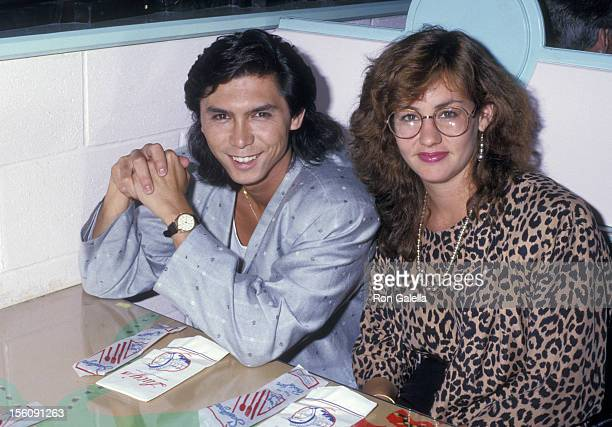 Actor Lou Diamond Phillips and wife Julie Cypher attending 'La Bamba Preview Party' on July 23 1987 at Lucy's Surfeteria in New York City New York