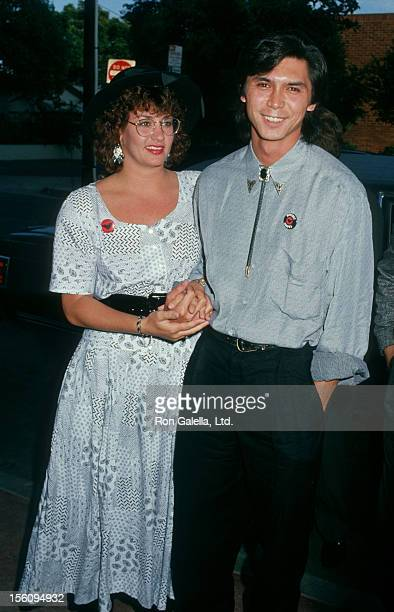 Actor Lou Diamond Phillips and wife Julie Cypher attending the premiere of 'Young Guns' on August 10 1988 at the UA Coronet Theater in Westwood...