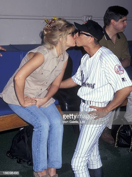 Actor Lou Diamond Phillips and wife Kelly Preston attending 'Hollywood AllStar Baseball Game' on June 29 1996 at Yankee Stadium in New York City New...