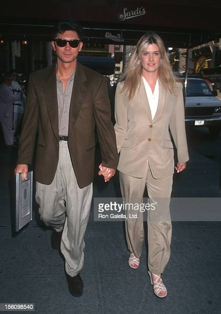 Actor Lou Diamond Phillips and wife Kelly Preston attending 'Tony Awards Nominees Luncheon' on May 15 1996 at Sardi's in New York City New York
