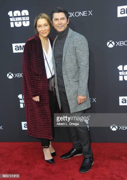 Actor Lou Diamond Phillips and wife Yvonne Boismier Phillips arrive for the AMC Celebrates The 100th Episode Of The Walking Dead held at The Greek...