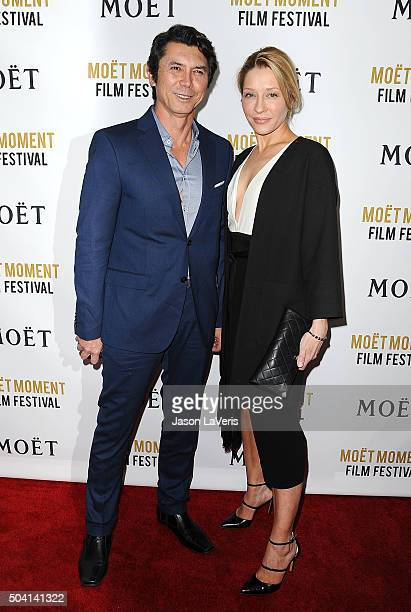 Actor Lou Diamond Phillips and wife Yvonne Boismier Phillips attend the Moet and Chandon celebration of The Golden Globes on January 8 2016 in West...
