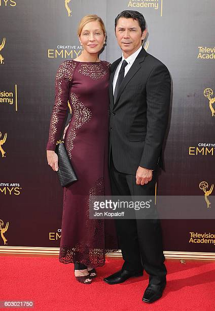Actor Lou Diamond Phillips and Yvonne Boismier Phillips arrive at the 2016 Creative Arts Emmy Awards at Microsoft Theater on September 11 2016 in Los...