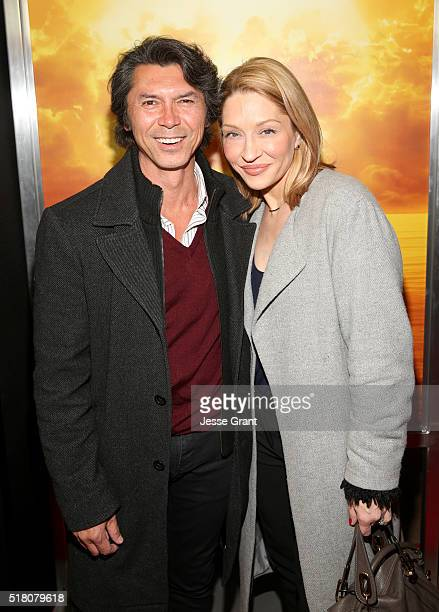 Actor Lou Diamond Phillips and Yvonne Boismier Phillips attend the season 2 premiere of Fear the Walking Dead at Cinemark Playa Vista on March 29...