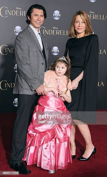 Actor Lou Diamond Phillips daughter Indigo Sanara Phillips and his wife Yvonne Boismier Phillips attend the premiere of 'Cinderella' at the El...