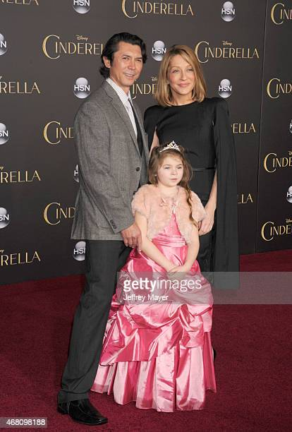 Actor Lou Diamond Phillips Lisa McCune and daughter arrive at the World Premiere of Disney's 'Cinderella' at the El Capitan Theatre on March 1 2015...