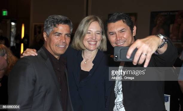 Actor Lou Diamond Phillips takes a 'selfie' with Esai Morales and Danielle von Zerneck of 'La Bamba' at The Hollywood Show held at Westin LAX Hotel...
