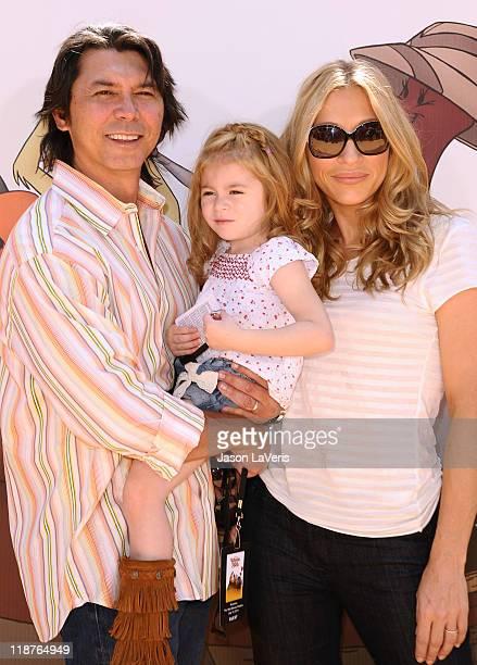 Actor Lou Diamond Phillips wife Yvonne Boismier and daughter Indigo Sanara attend the premiere of Disney's Winnie The Pooh at Walt Disney Studios on...
