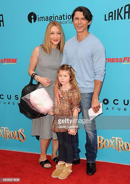 Actor Lou Diamond Phillips wife Yvonne Boismier Phillips and daughter attend the premiere of The Boxtrolls at Universal CityWalk on September 21 2014...