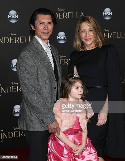 Actor Lou Diamond Phillips wife Yvonne Boismier Phillips and daughter Indigo Sanara Phillips attend the premiere of Disney's Cinderella at the El...