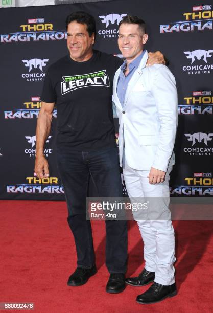 Actor Lou Ferigno and son actor Lou Ferigno Jr attend the World premiere of Disney and Marvel's 'Thor Ragnarok' at El Capitan Theatre on October 10...