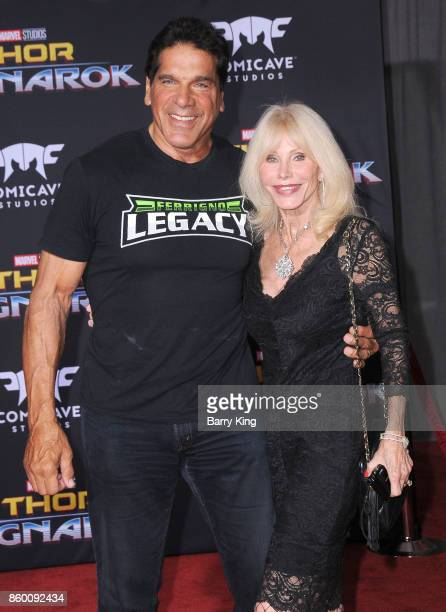 Actor Lou Ferigno and wife Carla Ferigno attend the World premiere of Disney and Marvel's 'Thor Ragnarok' at El Capitan Theatre on October 10 2017 in...