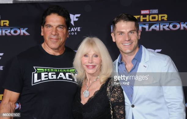 Actor Lou Ferigno wife Carla Ferigno and son actor Lou Ferigno Jr attend the World premiere of Disney and Marvel's 'Thor Ragnarok' at El Capitan...