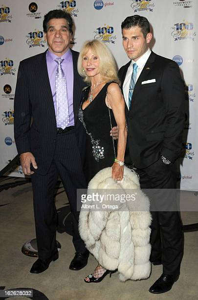 Actor Lou Ferigno wife Carla Ferigno and son Lou Ferigno Jr arrive for the 23rd Annual Night Of 100 Stars Black Tie Dinner Viewing Gala held at...