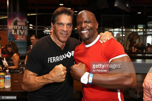 Actor Lou Ferrigno and Actor Terry Crews attend the Marvel Universe LIVE Age Of Heroes World Premiere Celebrity Red Carpet Event at Staples Center on...