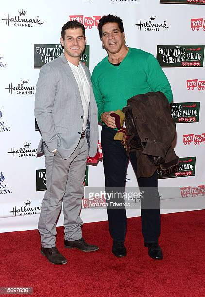 Actor Lou Ferrigno and his son Lou Ferrigno Jr arrive at the 2012 Hollywood Christmas Parade Benefiting Marine Toys For Tots on November 25 2012 in...