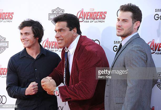 Actor Lou Ferrigno and his sons Brent Ferrigno and Lou Ferrigno Jr arrives at the Premiere Of Marvel's 'Avengers Age Of Ultron' at the Dolby Theatre...