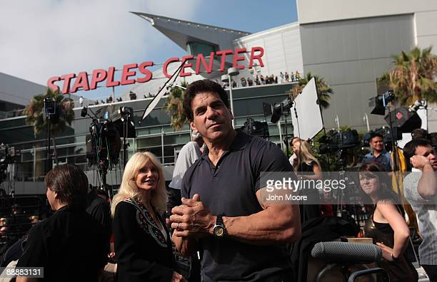 Actor Lou Ferrigno and wife Carla arrive at the Michael Jackson public memorial service held at Staples Center on July 7 2009 in Los Angeles...