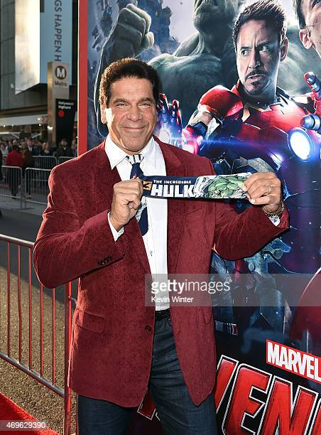 """Actor Lou Ferrigno attends the premiere of Marvel's """"Avengers: Age Of Ultron"""" at Dolby Theatre on April 13, 2015 in Hollywood, California."""