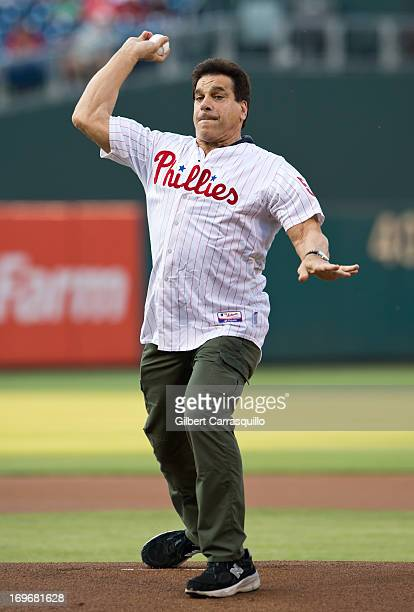 Actor Lou Ferrigno throws the first pitch at the Philadelphia Phillies Vs. Boston Red Sox at Citizens Bank Park on May 30, 2013 in Philadelphia,...