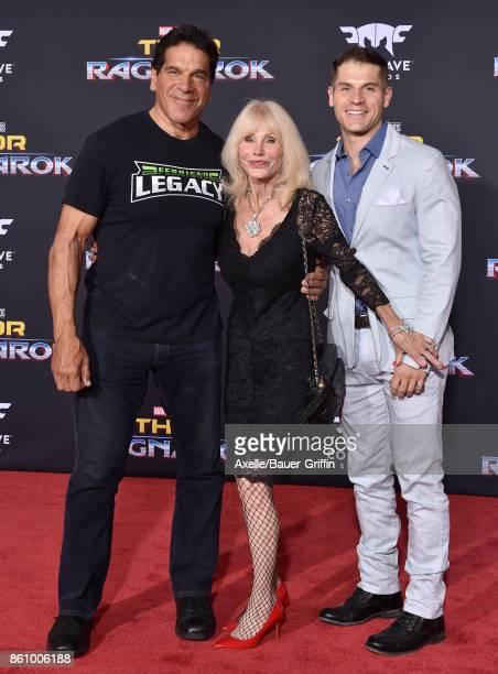 Actor Lou Ferrigno wife Carla Ferigno and son Lou Ferrigno Jr arrive at the premiere of Disney and Marvel's 'Thor Ragnarok' at the El Capitan Theatre...