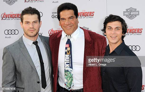 Actor Lou Ferrigno with sons Brent and Lou Jr arrive for the Premiere Of Marvel's Avengers Age Of Ultron held at Dolby Theatre on April 13 2015 in...