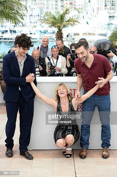 Actor Louis Garrel director Valeria Bruni Tedeschi and actor Filippo Timi attend the photocall for 'Un Chateau En Italie' during The 66th Annual...