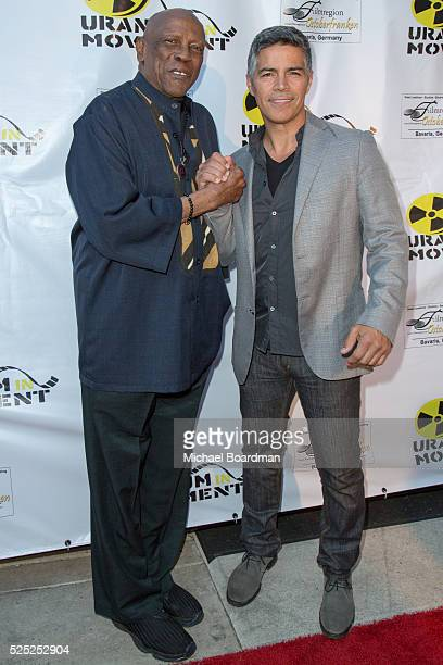 """Actor Louis Gossett Jr.. And actor Esai Morales attend """"The Man Who Saved The World"""" premiere during the Atomic Age Cinema Fest at Raleigh Studios on..."""