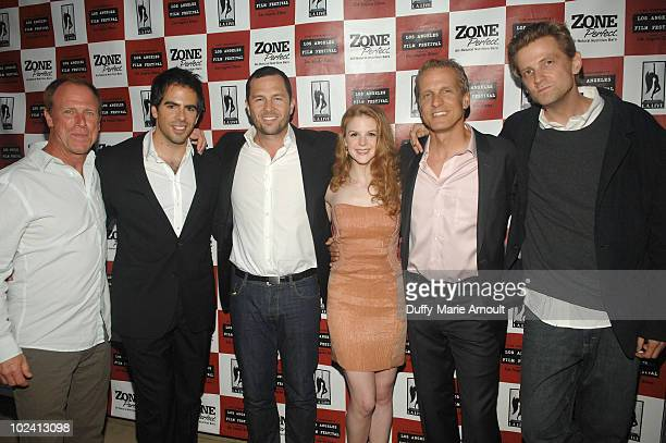 Actor Louis Herthum producers Eli Roth Eric Newman actress Ashley Bell actor Patrick Fabian and director Daniel Stamm attend The Last Exorcism Ford...