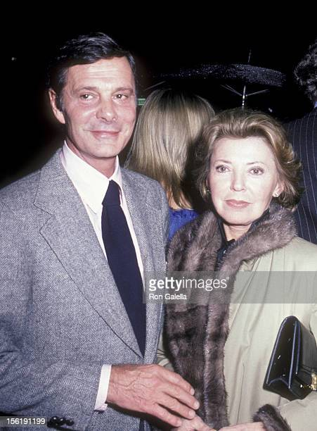 Actor Louis Jourdan and wife Berthe Jourdan attend Allen Carr Party for Tonis Curtis on March 2 1980 at Chasen's Restaurant in Beverly Hills...