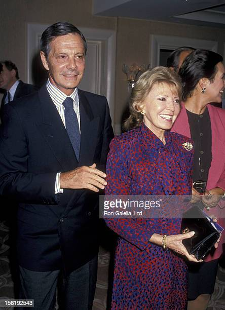 Actor Louis Jourdan and wife Berthe Jourdan attend Billy Wilder Art Exhibit on September 25 1989 at the Beverly Hills Hotel in Beverly Hills...