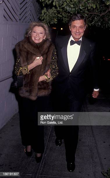 Actor Louis Jourdan and wife Berthe Jourdan attend New Year's Eve Party on December 31 1990 at Spago Restaurant in West Hollywood California