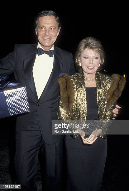 Actor Louis Jourdan and wife Berthe Jourdan attend New Year's Eve Party on December 31 1986 at Spago Restaurant in West Hollywood California