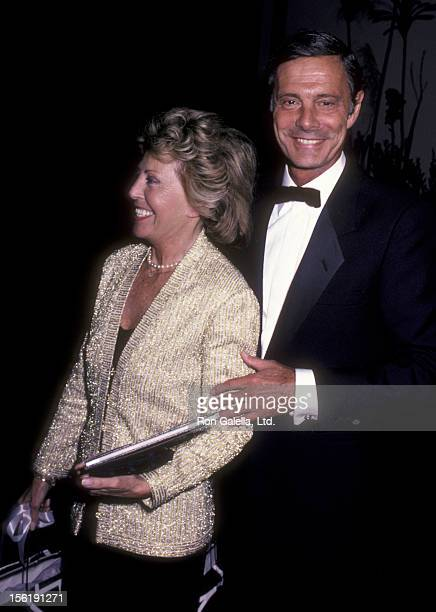 Actor Louis Jourdan and wife Berthe Jourdan attend SPRINT Fundraising Benefit Dinner on October 25 1985 at Sheraton Universal Hotel in Los Angeles...