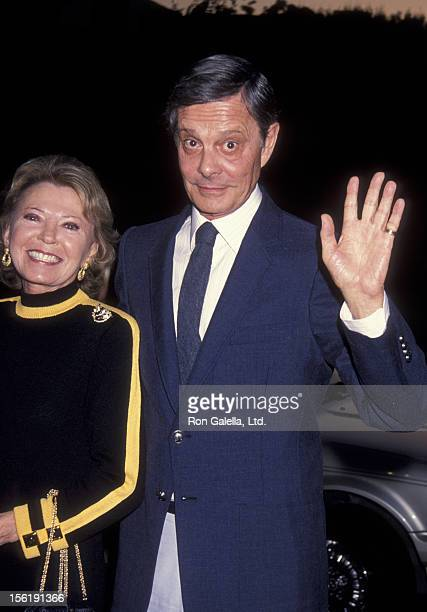 Actor Louis Jourdan and wife Berthe Jourdan attend the book party for Jackie Collins 'American Star' on April 15 1993 at Spago Restaurant in West...