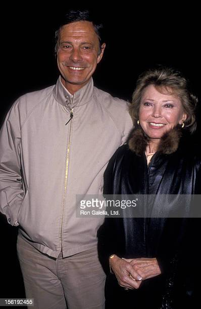 Actor Louis Jourdan and wife Berthe Jourdan sighted on January 22 1987 at Spago Restaurant in West Hollywood California