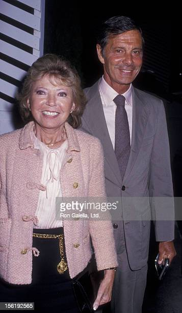 Actor Louis Jourdan and wife Berthe Jourdan sighted on May 26 1987 at Spago Restaurant in West Hollywood California