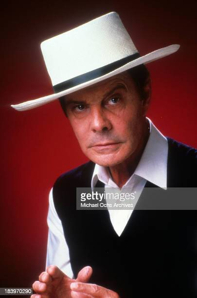 Actor Louis Jourdan pose for the movie The Return of Swamp Thing in 1989