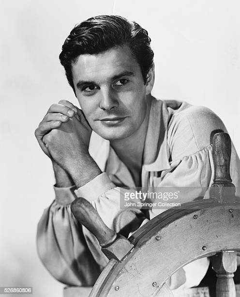 Actor Louis Jourdan promotes his appearance in the 1951 movie Anne of the Indies