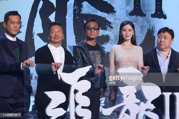 Actor Louis Koo Tinlok actor Tony Leung Kafai actress Sabrina Qiu and director Wong Jing attend a press conference of film 'Chasing The Dragon II...