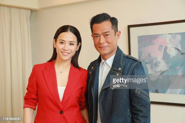 Actor Louis Koo Tinlok and actress Jessica Hester Hsuan receive interview about film 'A Witness out of the Blue' on October 17 2019 in Hong Kong China