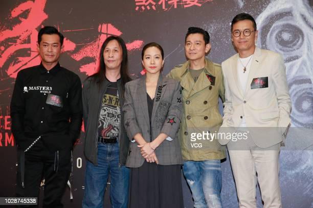 Actor Louis Koo Tinlok director Herman Yau Laito actress Karena Lam actor/singer Andy Lau Takwah and actor Michael Miu Kiuwai attend a press...