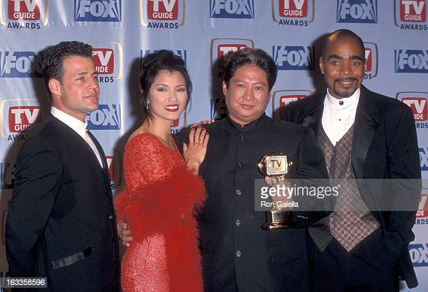 Actor Louis Mandylor actress Kelly Hu actor Sammo Hung and actor Tom Wright attend the First Annual TV Guide Awards on February 1 1999 at 20th...