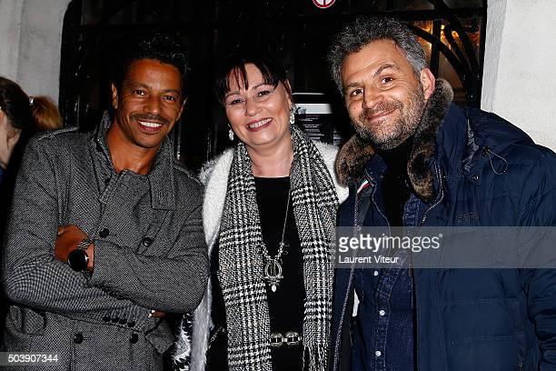 Actor LouisKarim Nebati producer Elisabeth Deshayes and Actor Patrick Mimoun attends the Launch of Kelly Vedoveli's blog at Bridge Club on January 7...