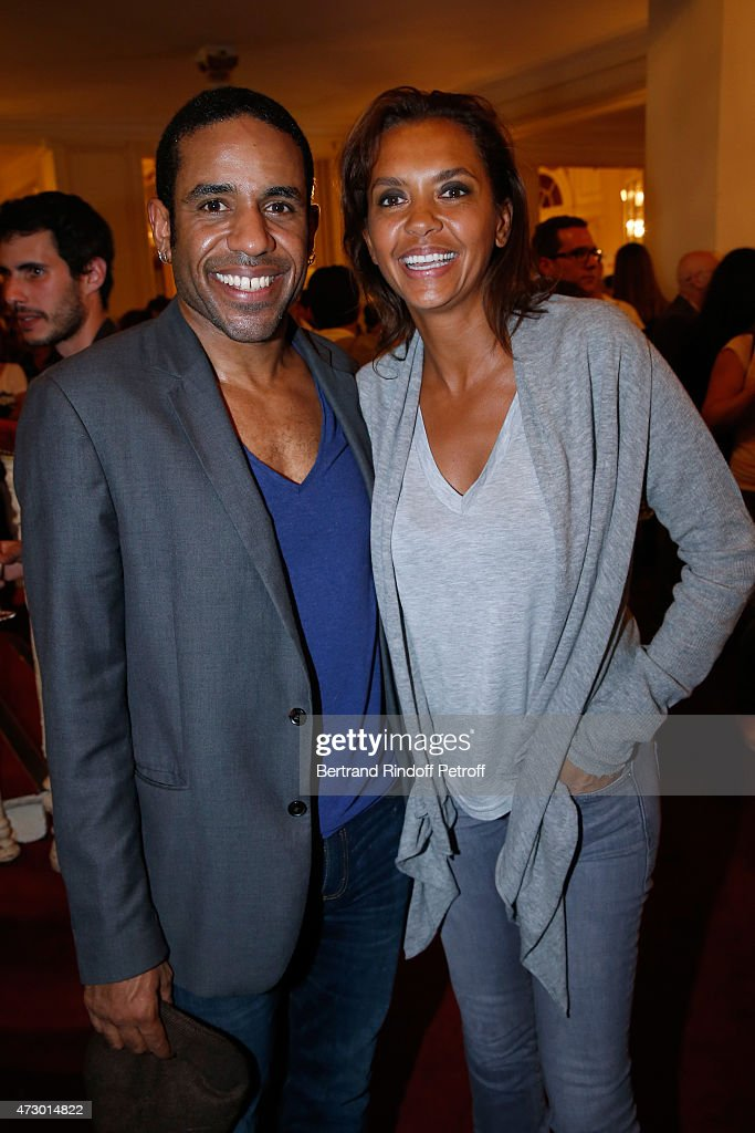 Actor Loup-Denis Elion and TV Host Karine Le Marchand pose after the 'Open Space' : Theater Play at Theatre de Paris on May 11, 2015 in Paris, France.