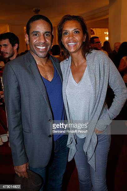 Actor LoupDenis Elion and TV Host Karine Le Marchand pose after the 'Open Space' Theater Play at Theatre de Paris on May 11 2015 in Paris France