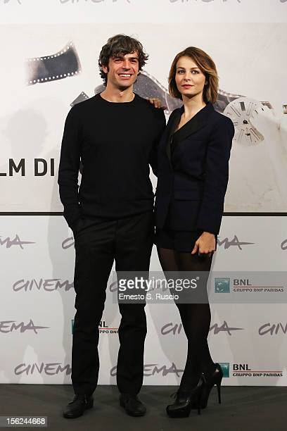 Actor Luca Argentero and actress Violante Placido attend 'The Lookout' Photocall during the 7th Rome Film Festival at the Auditorium Parco Della...